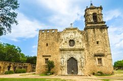 Facade of the Mission San Jose church in San Antonio Texas Stock Image