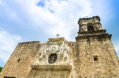 Facade of the Mission San Jose church in San Antonio Texas. San Antonio, Texas: Facade of the Mission San Jose church, part of the San Antonio National stock photography