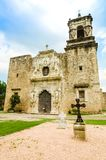 Facade of the Mission San Jose church in San Antonio Texas Stock Photos