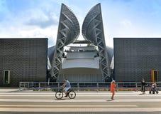 Facade of modern amphitheater in Molodechno, Belarus. Molodechno, Belarus - July 3, 2014. Facade of modern amphitheater in Molodechno, Belarus. Curve rod metal Stock Photo