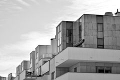 Facade of a modern apartment building. Black and white. Modern, Luxury Apartment Building. Black and white stock images