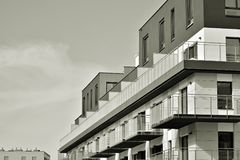 Facade of a modern apartment building. Black and white. Modern, Luxury Apartment Building. Black and white royalty free stock images