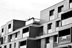Facade of a modern apartment building. Black and white. Modern, Luxury Apartment Building. Black and white stock photo