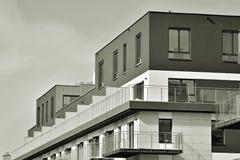 Facade of a modern apartment building. Black and white. Modern, Luxury Apartment Building. Black and white stock photography