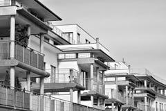Facade of a modern apartment building. Black and white. Modern, Luxury Apartment Building. Black and white royalty free stock photos