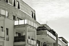 Facade of a modern apartment building. Black and white. Modern, Luxury Apartment Building. Black and white royalty free stock photo