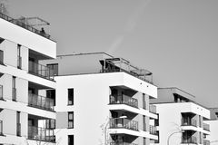 Facade of a modern apartment building. Black and white. Modern, Luxury Apartment Building. Modern facade royalty free stock photo