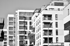 Facade of a modern apartment building. Black and white. Modern, Luxury Apartment Building. Modern facade stock photo