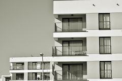Facade of a modern apartment building. Black and white. Modern, Luxury Apartment Building. Modern facade stock images