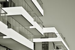 Facade of a modern apartment building. Black and white. Modern, Luxury Apartment Building. Modern facade royalty free stock photography