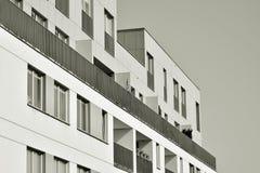 Facade of a modern apartment building. Black and white. Modern, Luxury Apartment Building. Modern facade royalty free stock photo