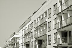 Facade of a modern apartment building. Black and white. Modern, Luxury Apartment Building. Modern facade stock photography
