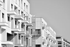 Facade of a modern apartment building. Black and white. Modern, Luxury Apartment Building. Modern facade stock image