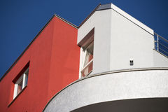 Facade of modern building. Painted in red and silver Royalty Free Stock Photography