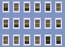 Facade of modern building in blue color reproducing the windows of homes to infinity royalty free illustration