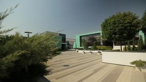 Facade of the modern building, top down, general shot stock footage