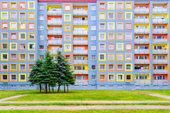 Facade of the modern colorful multistory house Royalty Free Stock Images