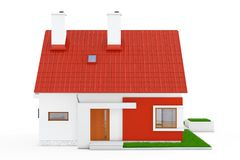 Facade of Modern Cottage House with Red Roof and Green Grass. 3d. Facade of Modern Cottage House with Red Roof and Green Grass on a white background. 3d Royalty Free Stock Image