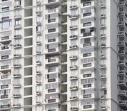 Facade of modern residential high rise building with lots of windows and apartments. Stock image royalty free stock images