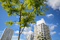 Facade of modern residential towers in a green environment, sustainable buildings Royalty Free Stock Photography