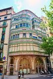 Facade of the modernist house called Casa Comalat by Spanish architect Valeri i Pupurull with the style of the architect. Barcelona, Spain. April 19, 2017 stock photography