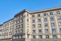 Facade of a modernist townhous. E in the city of Poznan stock photos