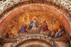 Facade Mosaic on entrance of Cathedral San Marco in Venice Royalty Free Stock Photo