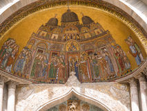 Facade mosaics at St. Mark's Cathedral of Venice Stock Photos