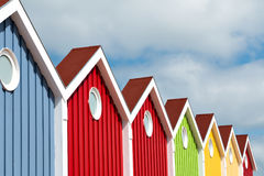 Facade, Multi Colored, Langeoog Island. Colorful glowing houses front on the North Sea island Langeoog Royalty Free Stock Photos