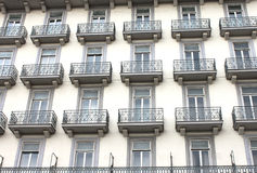 Facade of a multi-storey house with a balcony in Rome. Italy Stock Images