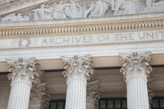 Facade of National Archives building in Washington DC. Detail of the facade of the National Archives building in Washington DC stock photography