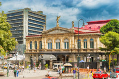 Facade of the National Theatre of Costa Rica in the center of Sa royalty free stock photo