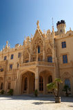Facade of the neogothic Lednice castle. Lednice castle - world heritage site by UNESCO Stock Image