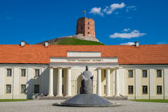Facade of new Arsenal, Lithuania, Gediminas tower, Vilnius, Lithuania. Facade of new arsenal and national museum of Lithuania, old Gediminas tower on background stock photo