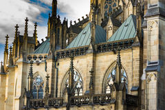 Facade of New Dome Mariendom in Linz, Upper Austria, gothic cathedral, close up of architectural details Stock Image