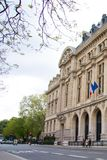 Facade of the new Sorbonne University building with the flags of France and European Union Stock Photos