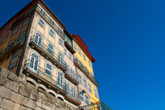 Facade of nice colorful houses in Porto, Portugal. Stock Images