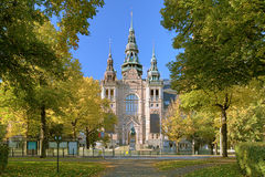Facade of the Nordic Museum Building in Stockholm, Sweden. Facade of the Nordic Museum Building in autumn sunny day, Stockholm, Sweden Stock Images