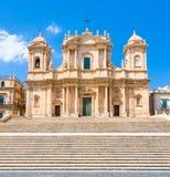 Facade of Noto Cathedral in Sicily Stock Photos