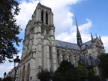 The facade of Notre Dame against the blue sky royalty free stock image