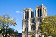 Facade of Notre Dame cathedral, Paris, France Stock Photos