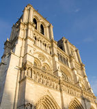 Facade of Notre Dame Cathedral in Paris Stock Photo
