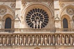 Facade of the Notre Dame de Paris Cathedral Stock Photos