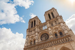 Facade of Notre Dame de Paris cathedral, France Stock Images