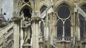 Facade of Notre-Dame de Paris cathedral, statue of Our Lady, gothic architecture. Stock footage stock video footage