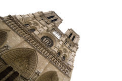 Facade of Notre Dame on Ile de la Cite. Facade of Notre Dame church in Paris, isolated on white background Stock Image