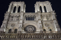 Facade of Notre Dame at Night Royalty Free Stock Image