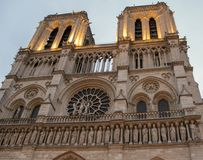 Facade Notre Dame in Paris royalty free stock photo