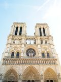 The facade of Notre Dame in Paris , France Stock Photos