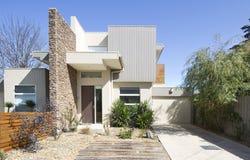 Facade Of A Contemporary Townhouse Home Stock Photo
